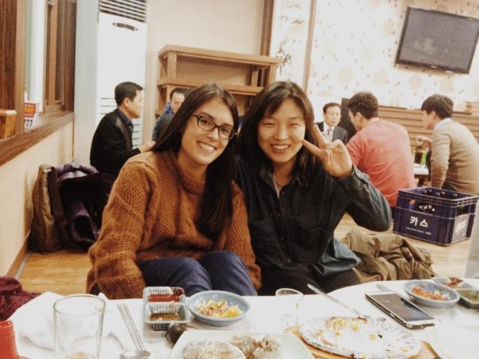 My co-teacher and I at a teacher's dinner